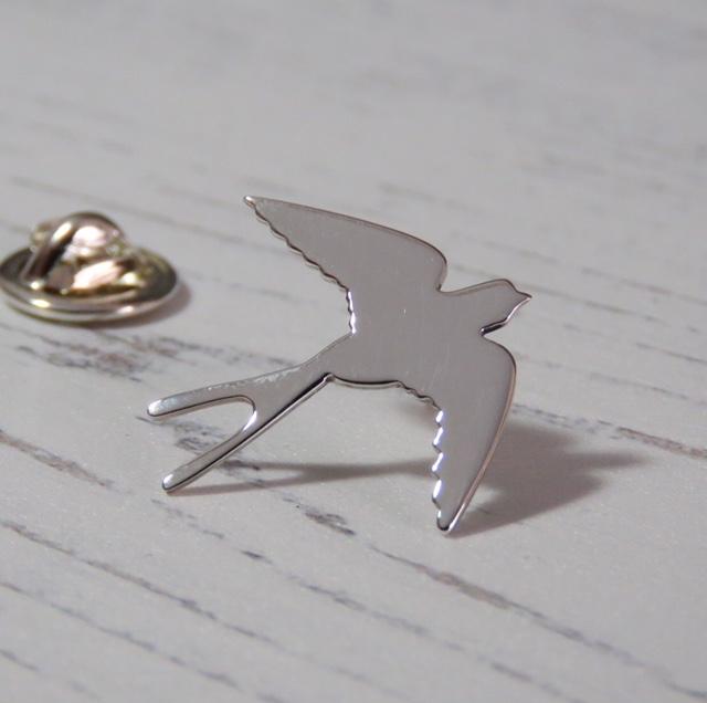 Sterling Silver Swallow Lapel Pin